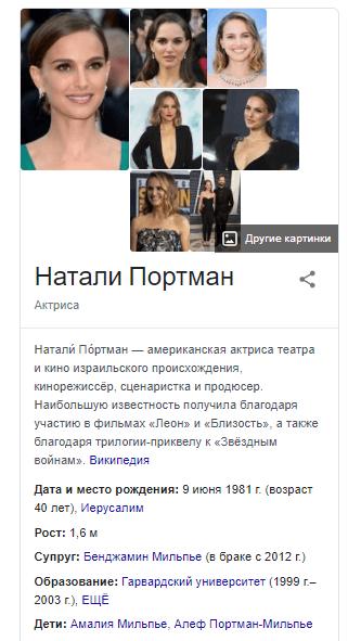 Спецэлемент поисковой выдачи Google «Панель знаний»