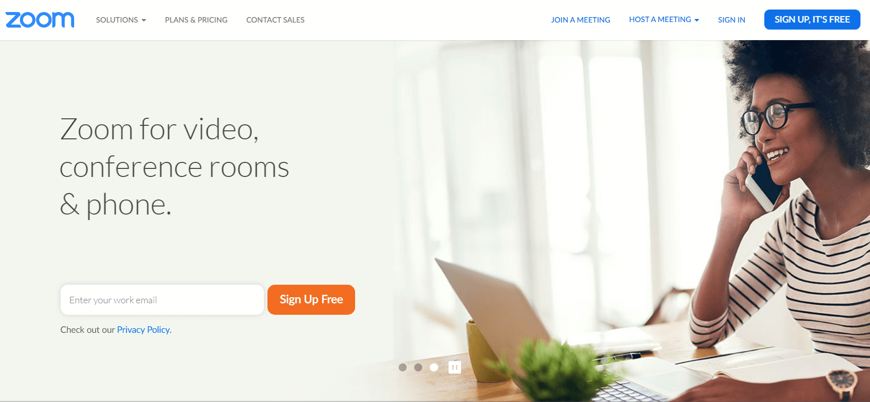 Zoom landing page