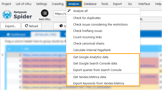 To start exporting data from services in Netpeak Spider, open the 'Analysis' menu, select the needed one from the list → and let the export begin!
