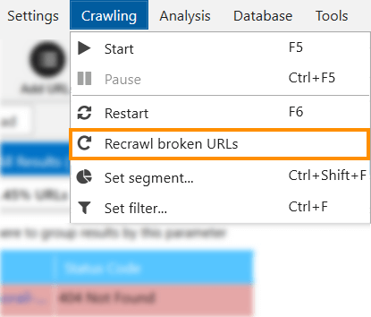 To use the new feature, open the 'Crawling' menu in Netpeak Spider and click on the 'Recrawl broken URLs' button. Yeah, once and again, one click and you're there 😏