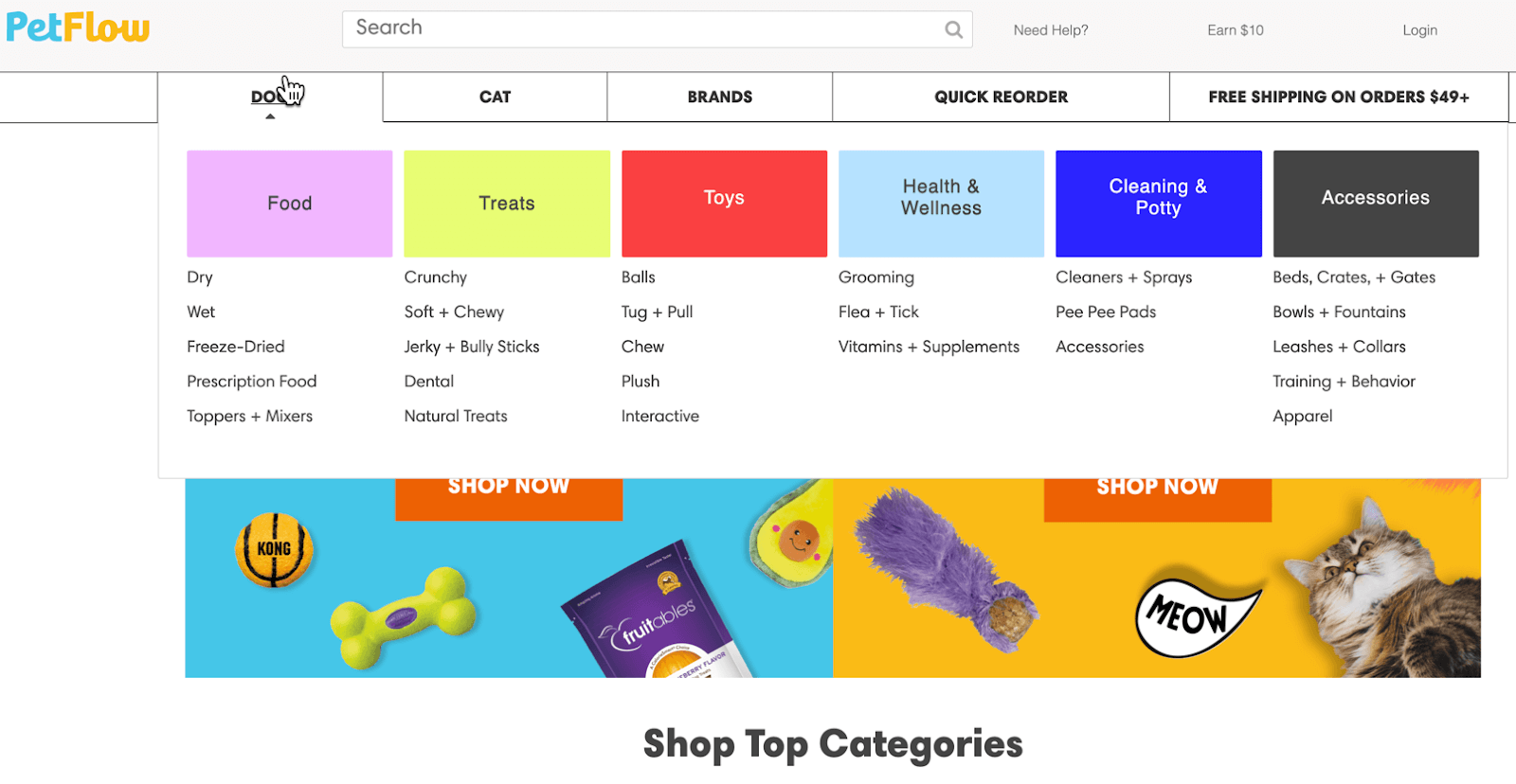 Ecommerce homepage example