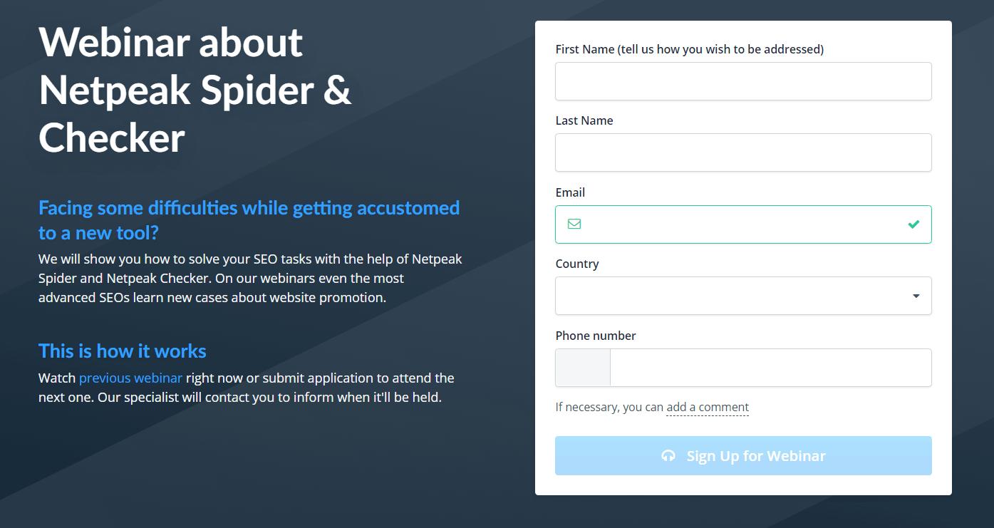 Webinar page