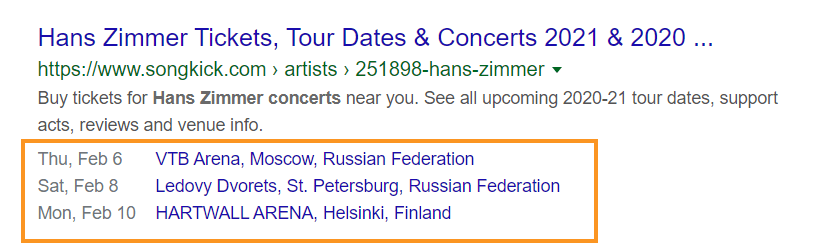 Example of events rich snippet in Google search results