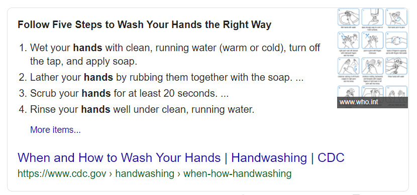 Example of 'how-to' snippet in Google search results