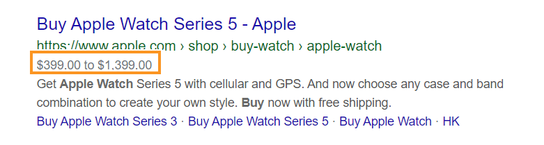 Product markup example in Google search results