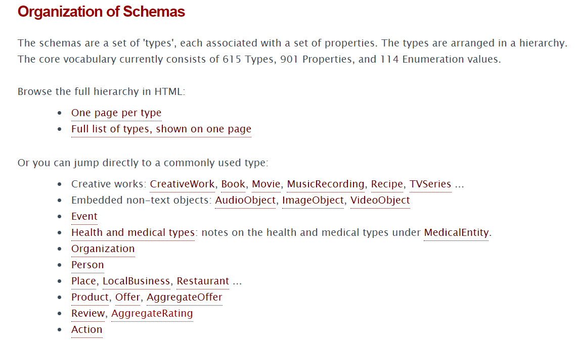 Choose the type of rich snippet on Schema.org