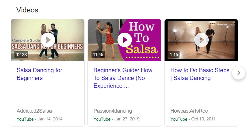 Example of video rich snippet in Google search results