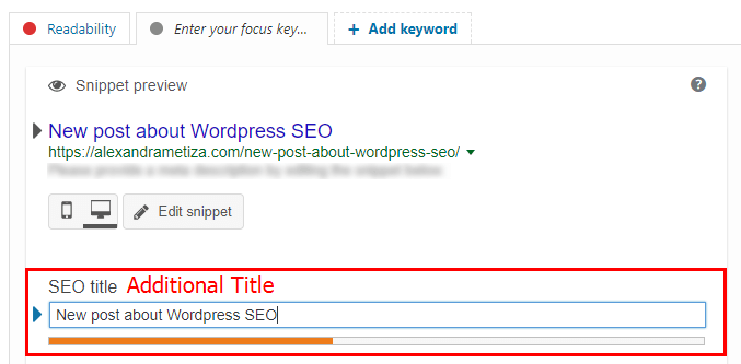 WordPress SEO: Additional Title