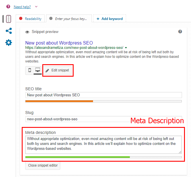 WordPress SEO: Example of Meta Description