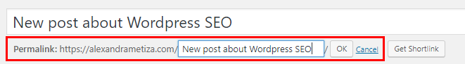 WordPress SEO: Generating page address