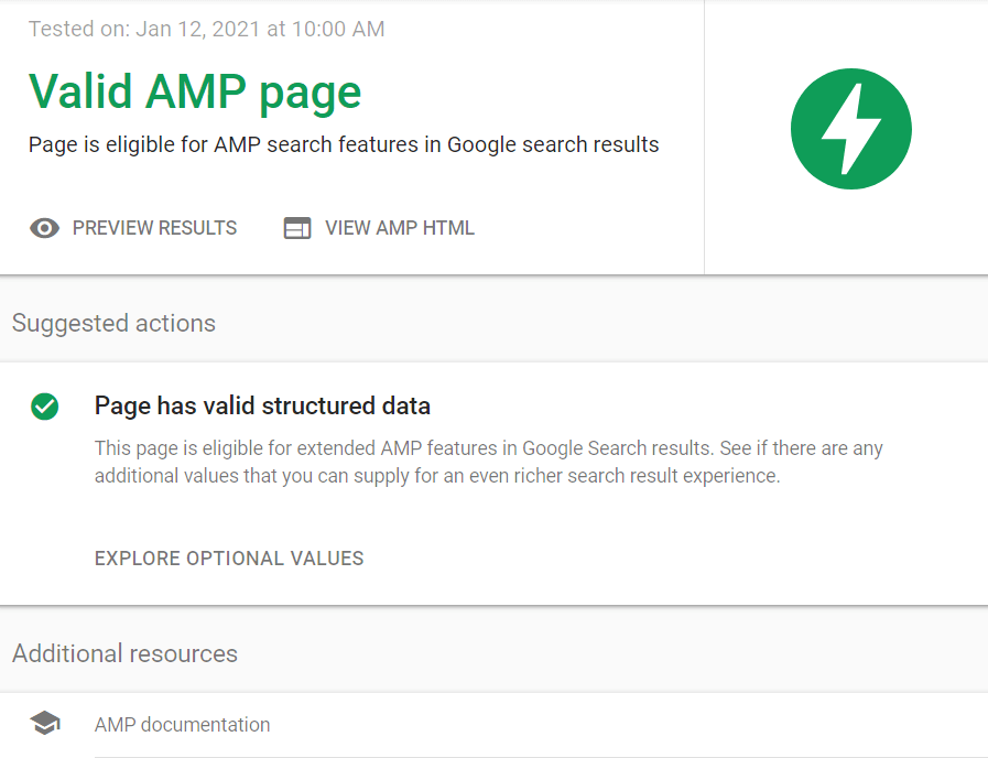 How to check AMP pages in Google's AMP Test Tool