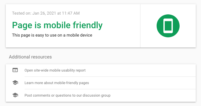 Test results in Google's mobile-friendly tool