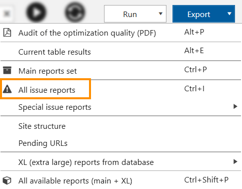 How to export all issue reports from Netpeak Spider