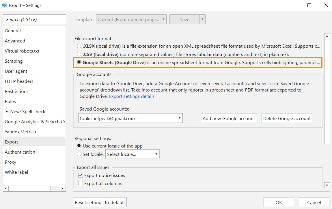 Export settings in Netpeak Spider