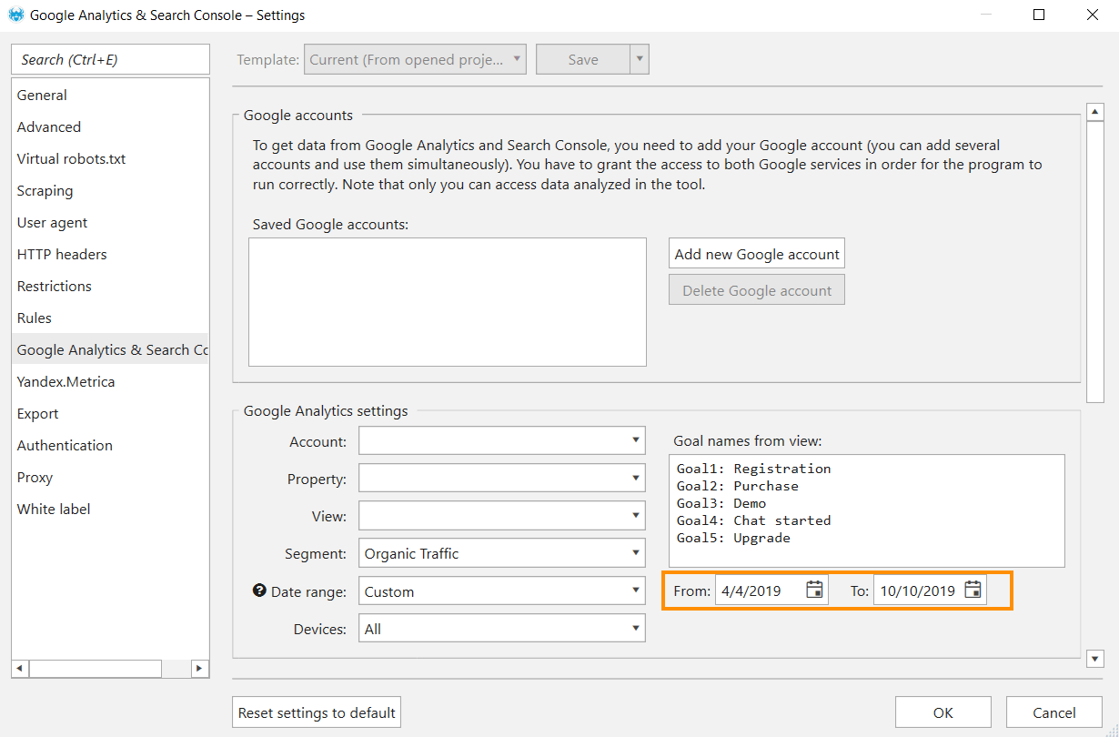 How to obtain data from Google Analytics in Netpeak Spider