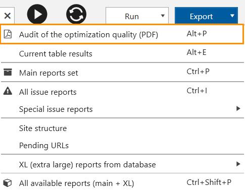 Export results in Netpeak Spider