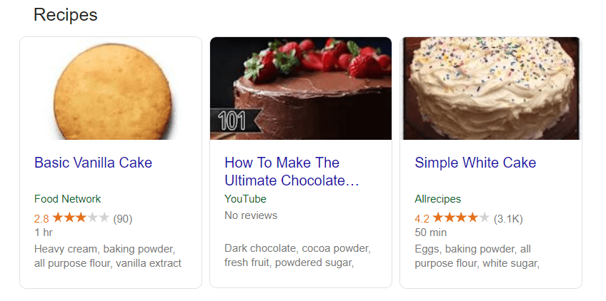 An example of how marked up recipes appear in search results