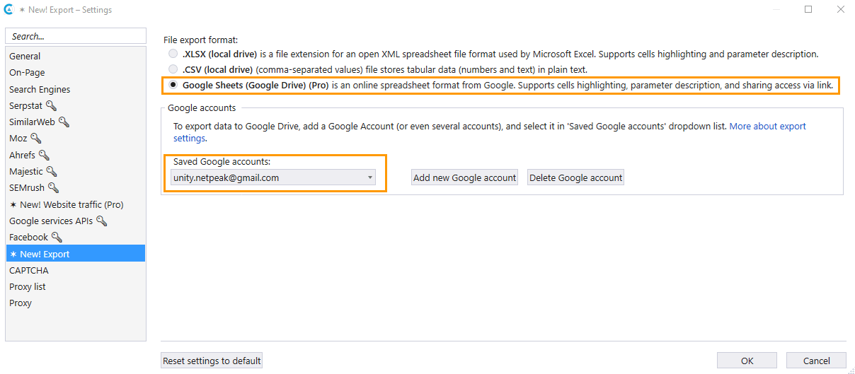 To export crawling results and reports to Google Drive, activate the Google Sheets (Google Drive) checkbox on the export settings tab of Netpeak Checker and then add a Google account