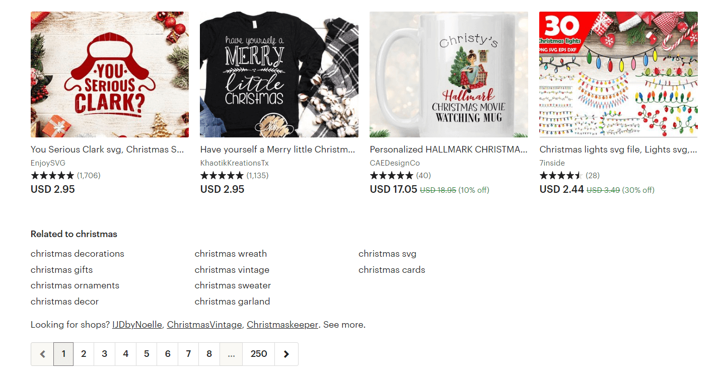 Example of seasonable categories on Etsy