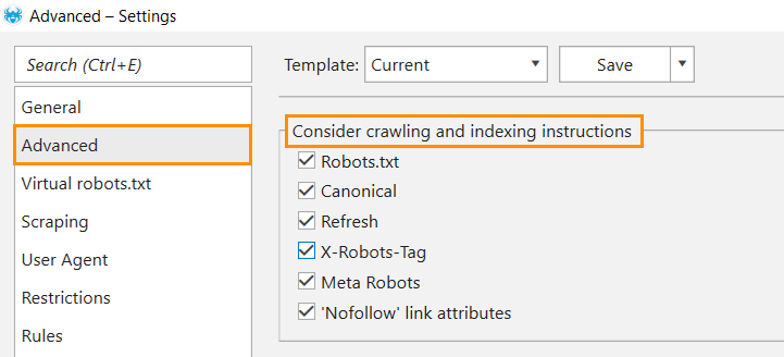 Considering indexing instructions in Netpeak Spider
