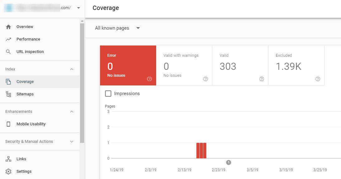 'Coverage' report in Google Search Console