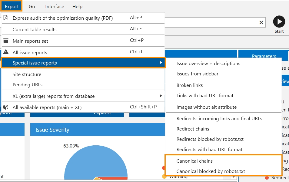 Exporting reports with canonical issues from Netpeak Spider
