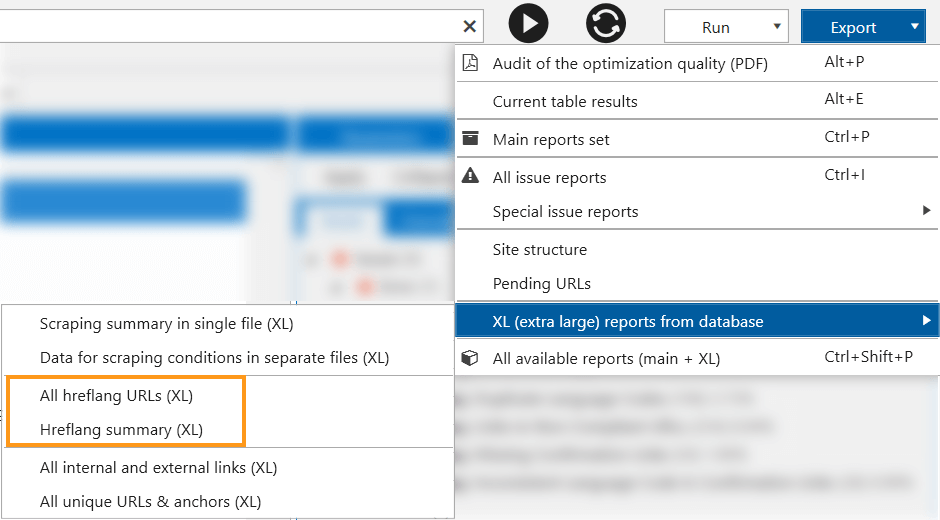 You can export the crawling results in 'XL (extra large) reports from database'