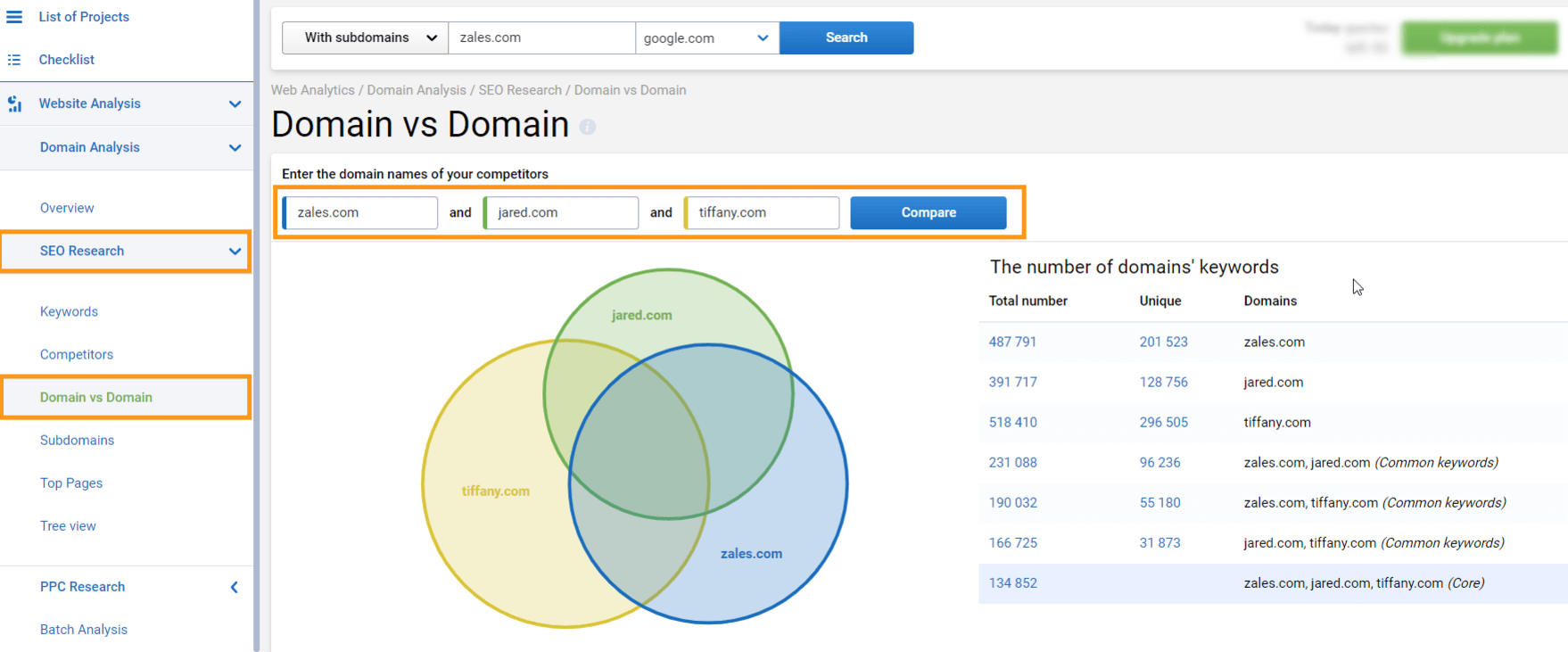Compare domains in Serpstat