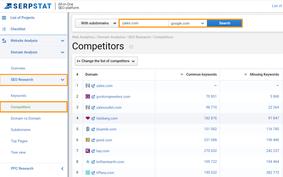 Find competitors in Serpstat