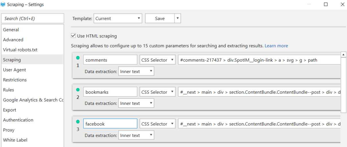 How to configure scraping settings in Netpeak Spider