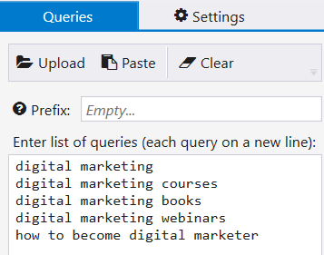 Open the 'SE Scraper' tab in Netpeak Checker and type in all possible queries