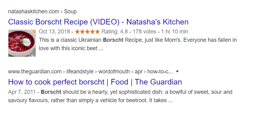 Example of snippet with recipe markup