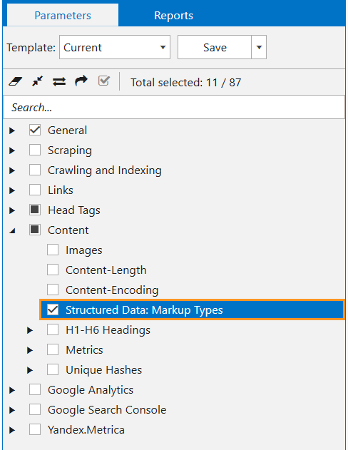 In Netpeak Spider, select 'Structured Data: Markup Types' parameter to detect structured data on the page