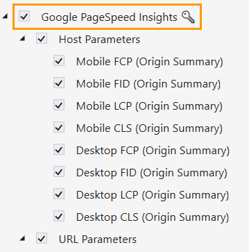 Select 'PageSpeed Insights' in Netpeak Checker