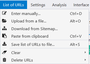 On the 'List of URL' tab, you can choose the most convenient way of adding URLs in Netpeak Checker