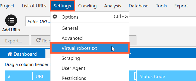 Virtual Robots.txt in Netpeak Spider