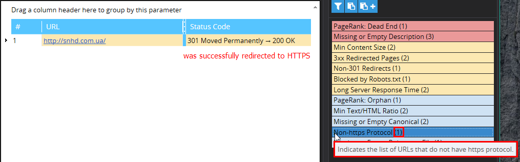 Checking website redirect to HTTPS with Netpeak Spider