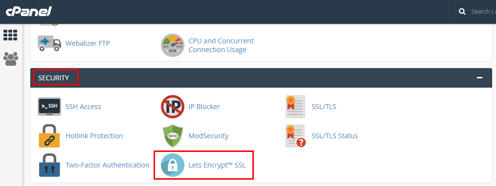 Using security section in cPanel while switching to HTTPS