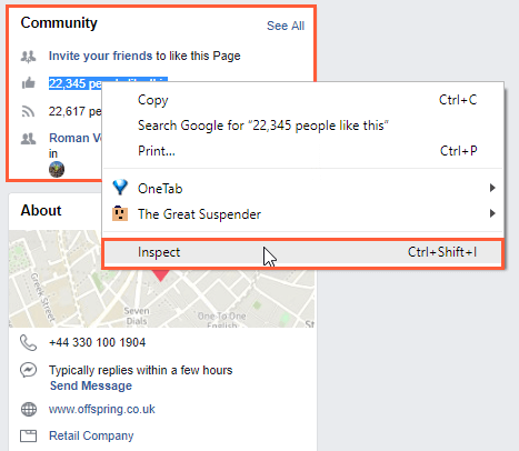 Inspect source code of Facebook business page