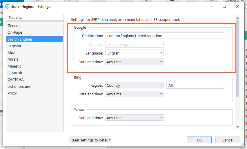 Search engine settings in Netpeak Checker
