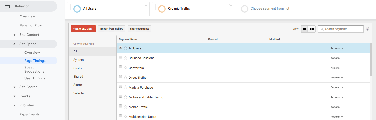 Adding the organic segment to other reports in Google Analytics