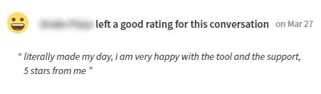 User's feedback