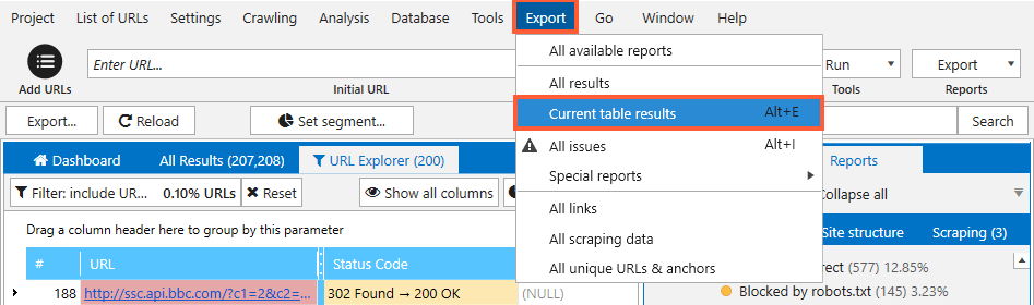 Export report with URL issues