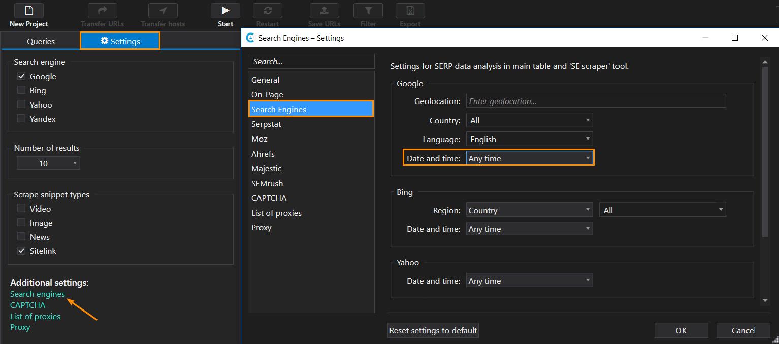 Date and time setting in 'SE Scraper' tool in Netpeak Checker