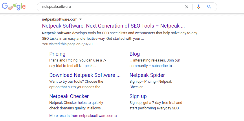Example of snippets that navigate users around a website