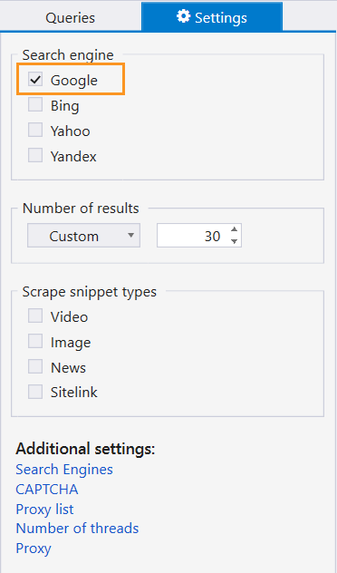 In the 'Settings' tab, choose the search engine you want to scrape in Netpeak Checker
