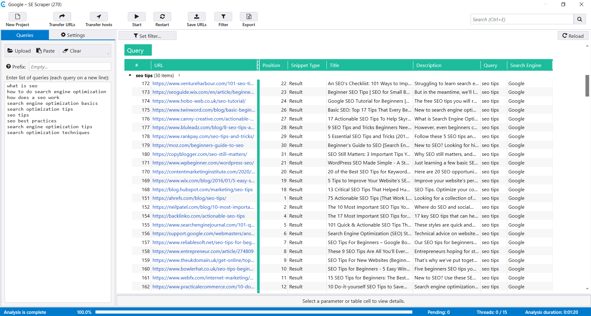 Scraping results in Netpeak Checker