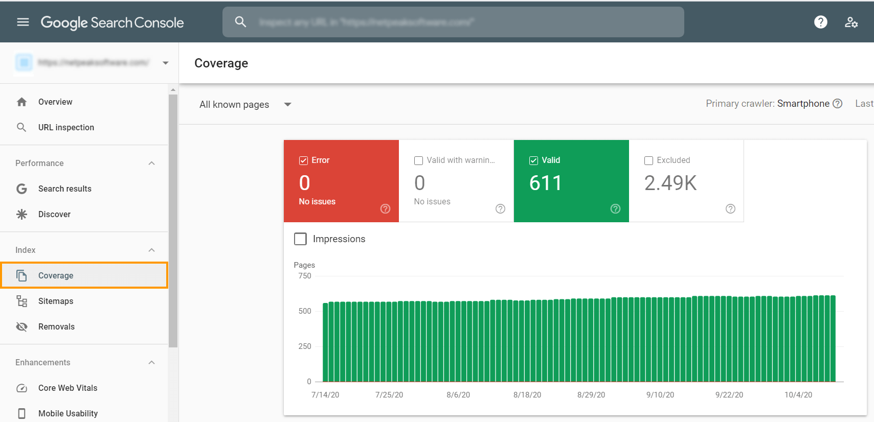 Check your index status in the 'Coverage' tab in Google Search Console to see the number of pages Google has on its index