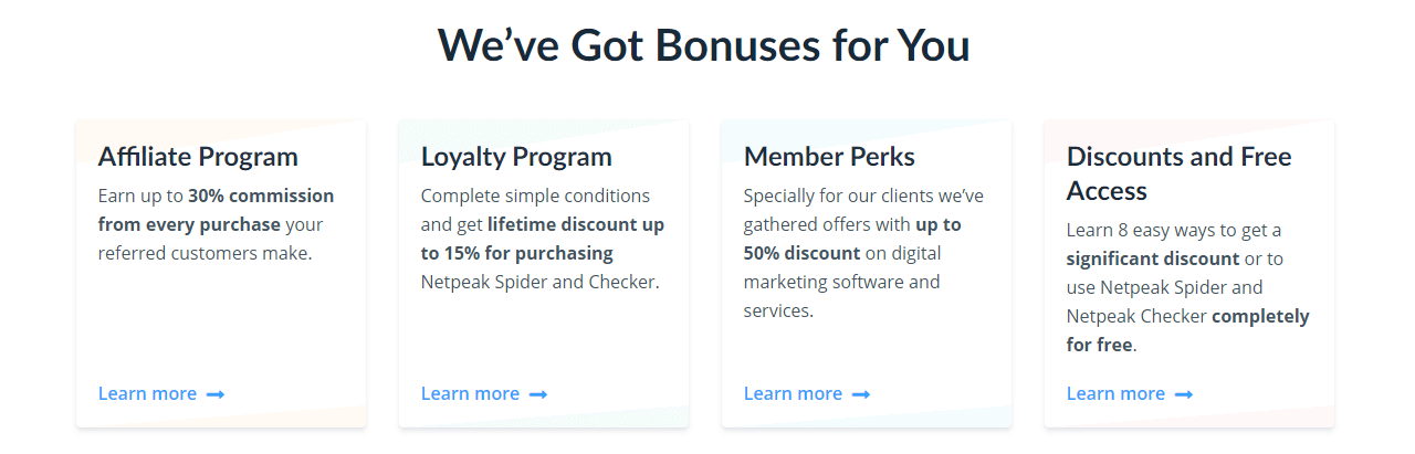 Netpeak Software bonuses