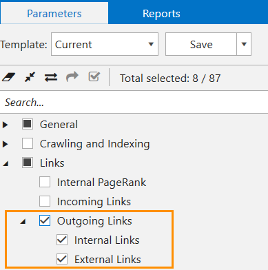 Choose the 'Outgoing Links' parameter in Netpeak Spider to detect the mixed content issue